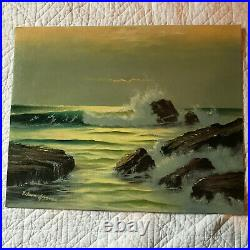 Vintage seascape coast hand painted original oil PAINTING rocky beach by Gosney