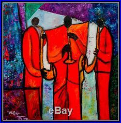 WILLIAM TOLLIVER Original OIL PAINTING on CANVAS Jazz Music Signed Art 48x48