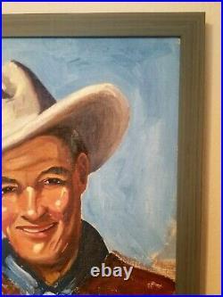 WONDERFUL BIG 1940's COWBOY PORTRAIT BY NEW MEXICO ARTIST D KUSIANOVICH TOM MIX