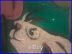 Whimsical Rabbits Original Framed Surrealist Painting on canvas Signed RESIO