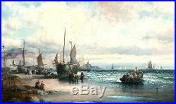 William Thornley Antique Original Oil on Canvas Sussex Fishing Boats