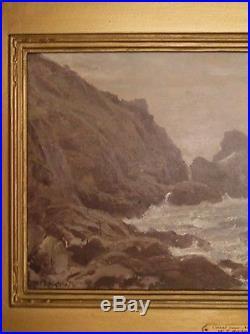 William Trost Richards Original Oil Painting on Canvas circa 1860 Seascape
