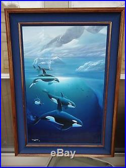 Wyland Original Oil on Canvas Artic Orcas- 32 x 44