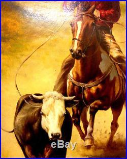 XL Original Pair Oil On Canvas Cowboys Cattle Herding, Signed Troy Denton
