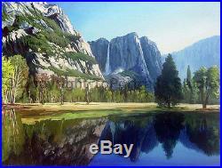 Yosemite Mountain Peaks, Original Landscape Oil Painting on Canvas, 34 x 26